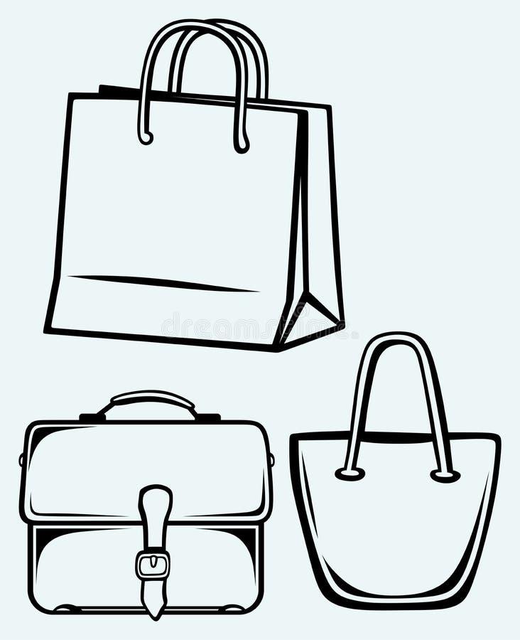 Paper bag and handbag. Image isolated on blue background royalty free illustration