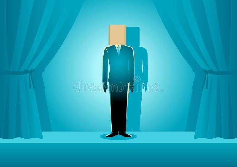 Paper Bag Head Businessman royalty free illustration