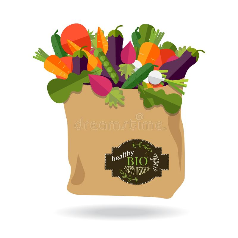 100 percent natural, organic on a paper bag full of fresh vegetables. Concept of diet, vegetarian, vegan. Grocery delivery royalty free illustration