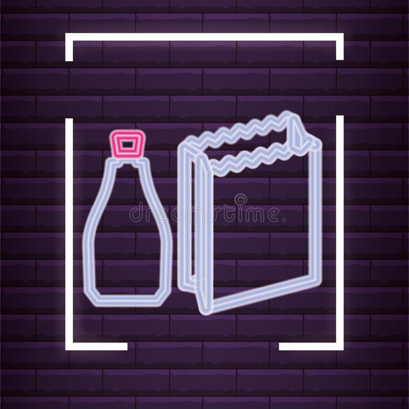 Paper bag icon. Bottle and paper bag icon over purple background, colorful neon design. vector illustration vector illustration