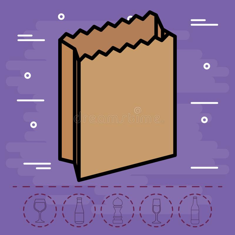 Paper bag icon. Over purple background, colorful design. vector illustration royalty free illustration