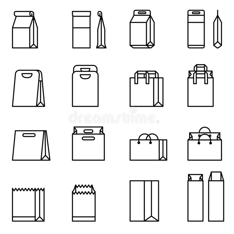 Shopping Bag, Paper bag vector icon set. Thin Line Style stock vector. vector illustration