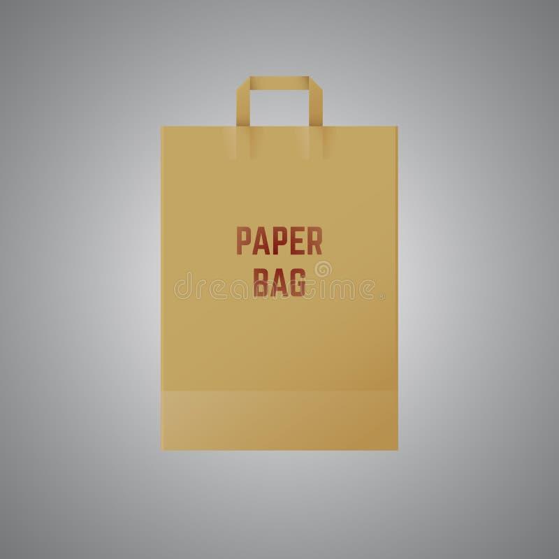 Vector paper bag. Paper bag with handle over grey background. Vector illustration stock illustration
