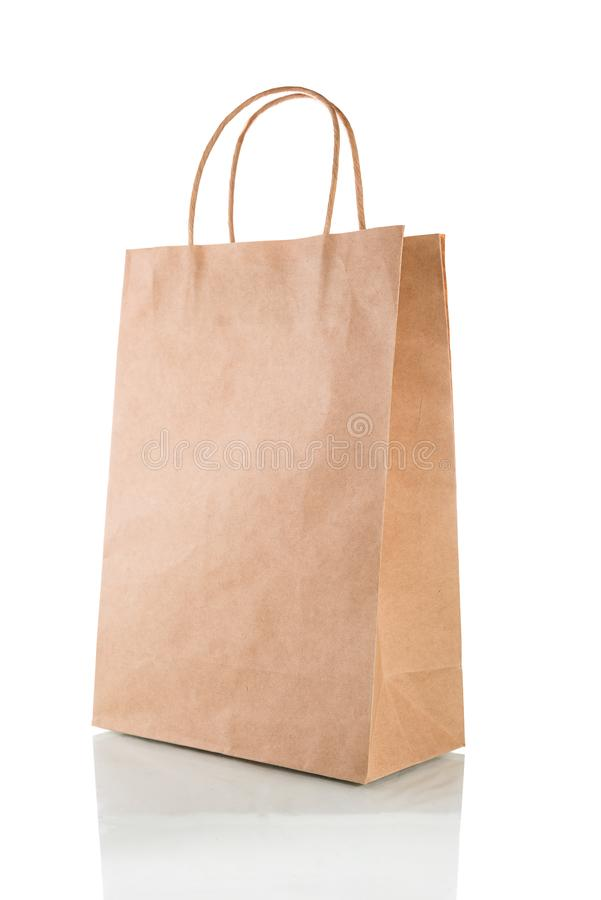 Paper bag isolated on a white background with clipping path royalty free stock images