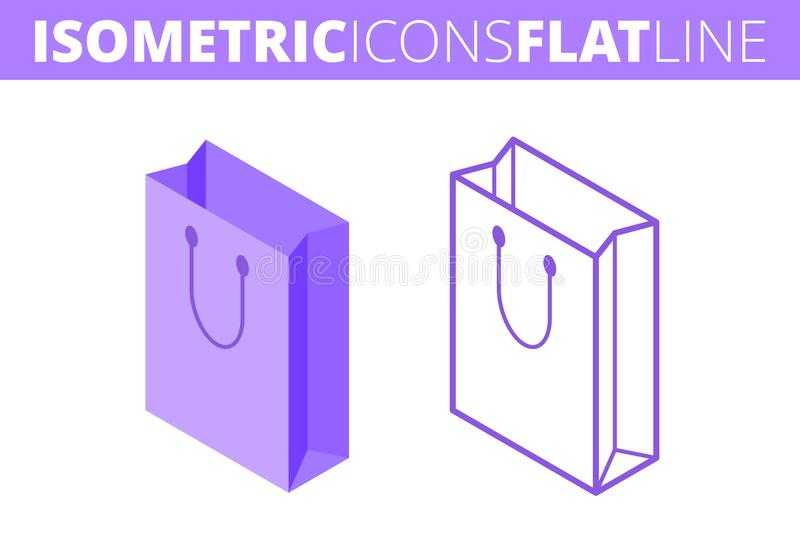The paper bag. Isometric, 3d flat and outline icon set. vector illustration