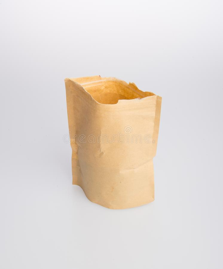 paper bag or kraft paper stand up pouch on a background. royalty free stock photos
