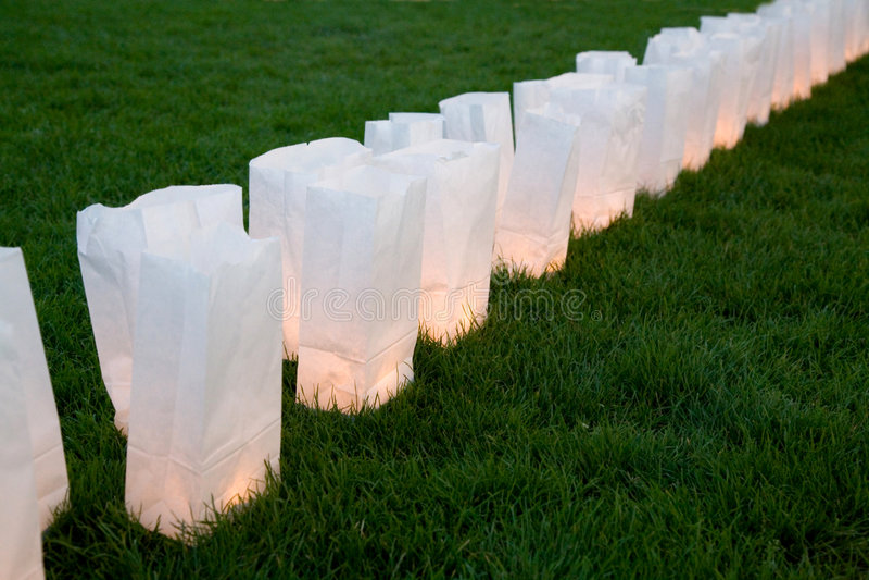 Paper bag lamps stock image