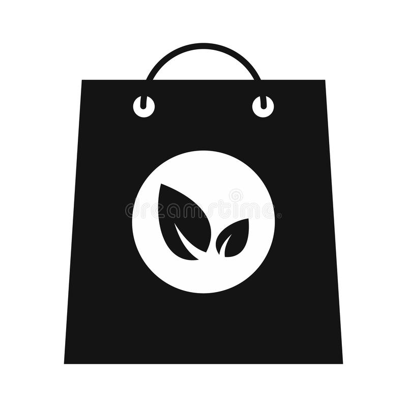 Paper bag with leaves black icon. Paper bag with leaves simple icon isolated on white background stock illustration
