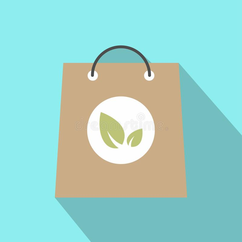 Paper bag with leaves icon. Colorful ecology symbol on a blue background stock illustration