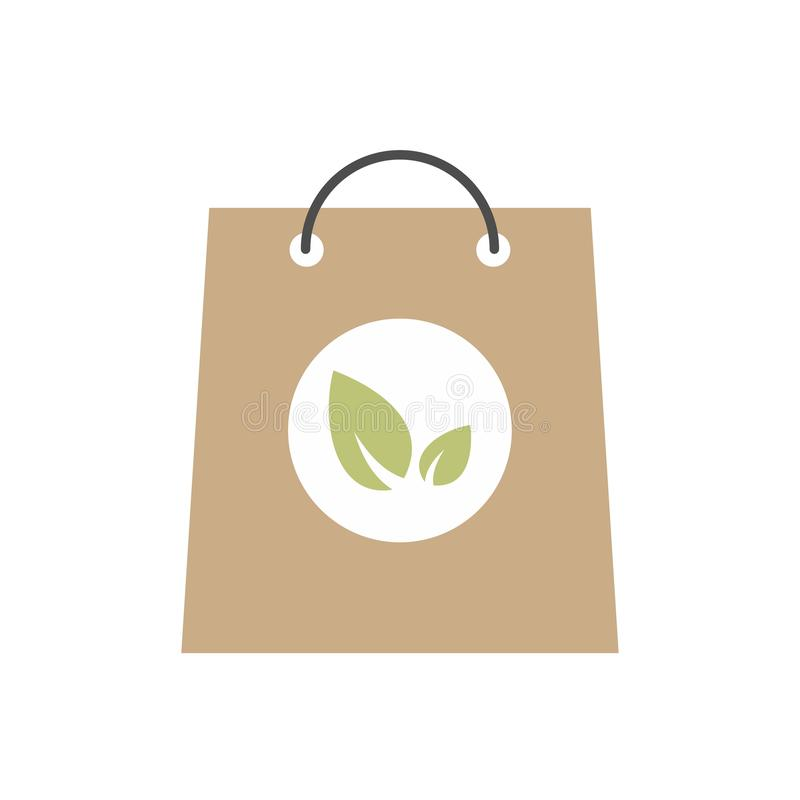 Paper bag with leaves icon. Colorful ecology symbol isolated on white background royalty free illustration