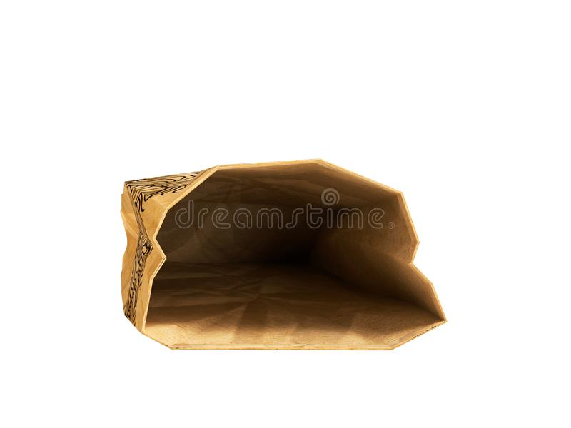 Paper bag lies open front 3d render on white background no shadow. Heavy paper bags of coated paper are suitable for packaging various purchases in stores stock illustration