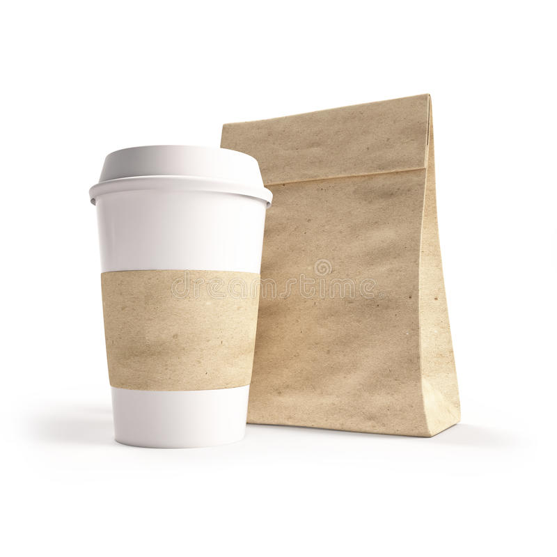 Paper bag for a meal or coffee. mockup,. Paper bag for a meal or coffee. 3d. mockup vector illustration
