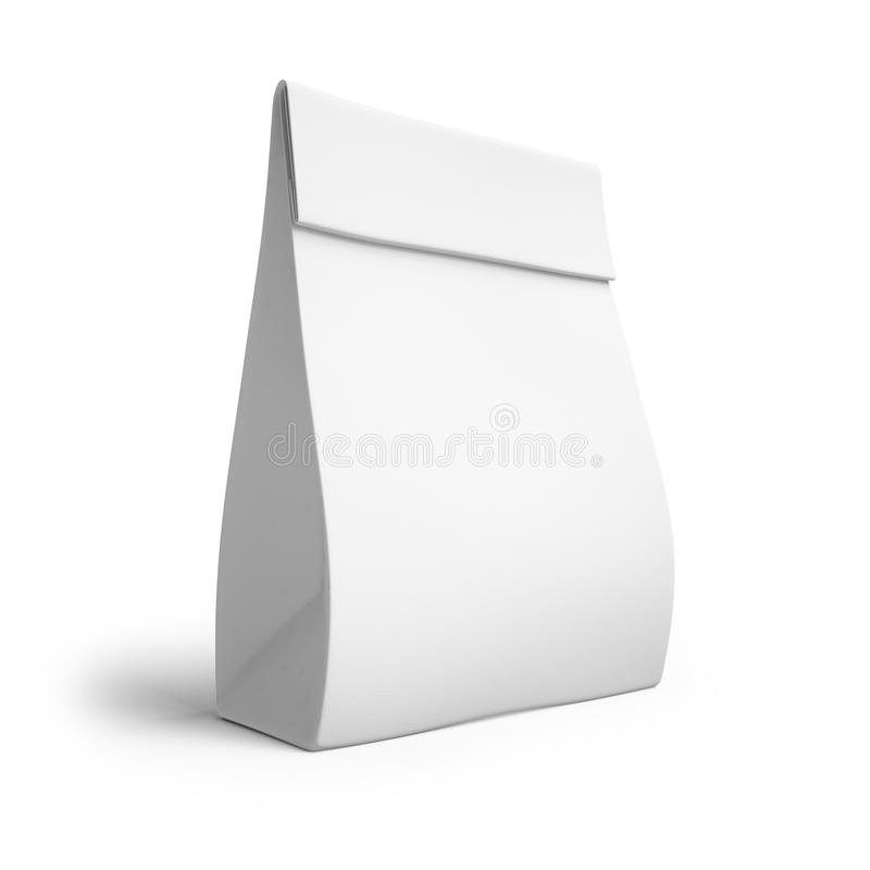 Paper bag for a meal or coffee. mockup,. Paper bag for a meal or coffee. 3d. mockup stock illustration