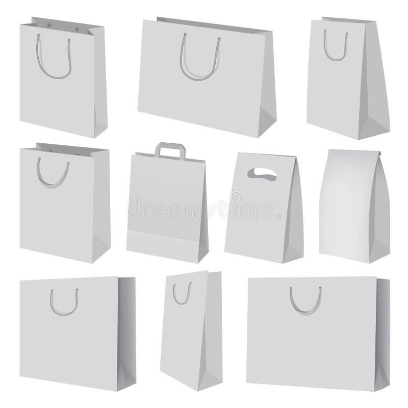 Paper bag mockup set, realistic style vector illustration