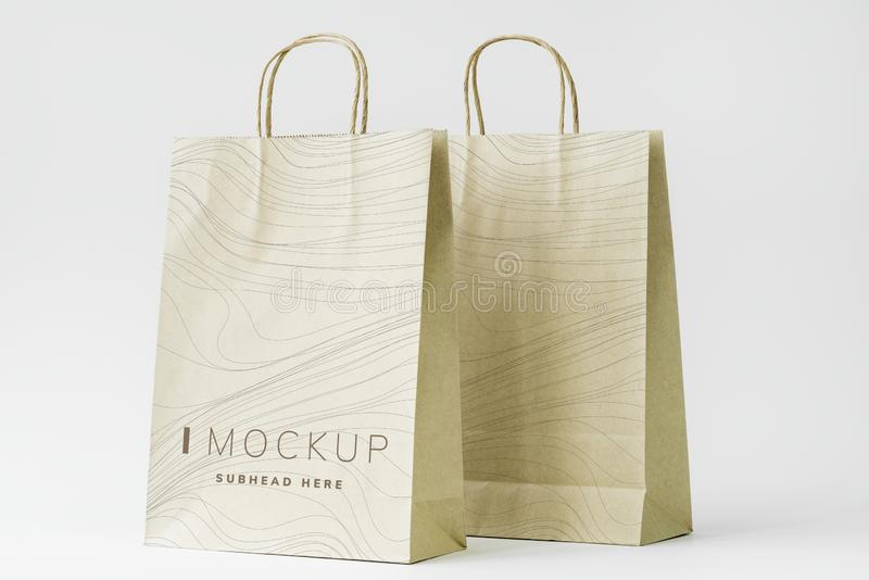 Paper bag mockup on the table royalty free stock photos