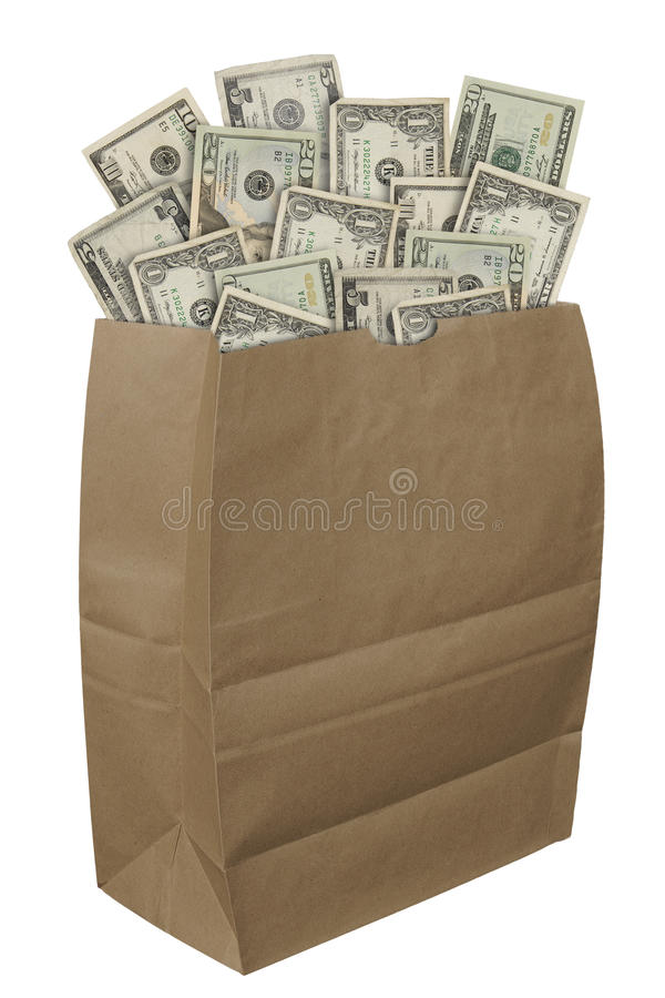 Paper bag of money stock image