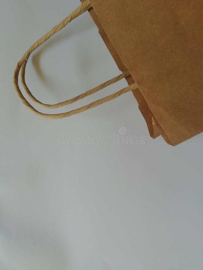 Paper Bag Package Of Coffee, Salt, Sugar, Pepper, Spices Or Flour, Filled, Folded, Close, White stock photography