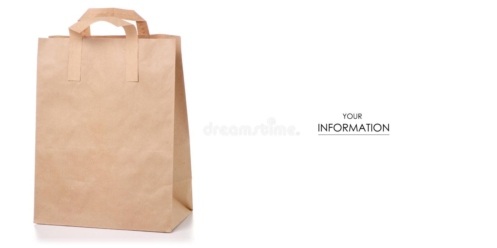 Paper bag package pattern. On white background isolation stock illustration