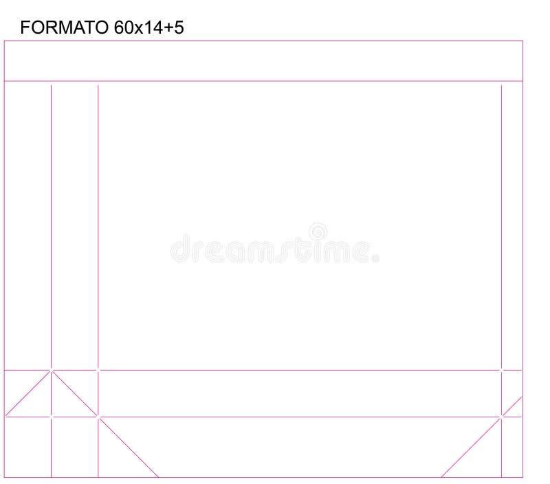 Paper Bag Packaging Dieline Illustration 26x8 Stock Vector