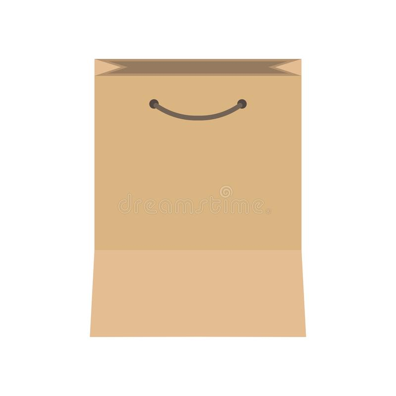 Paper bag packaging isolated business brown object vector icon. Commercial purchase kraft flat box consumerism.  royalty free illustration