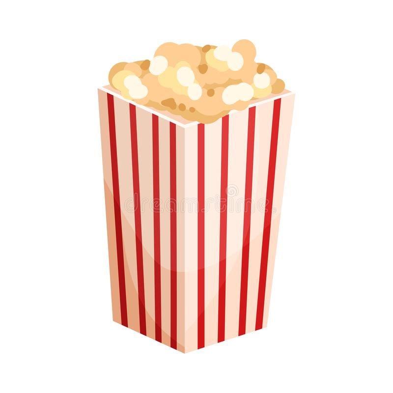Paper bag with popcorn. Vector illustration on a white background. Paper square striped red-white bag with popcorn. Vector illustration on a white background stock illustration