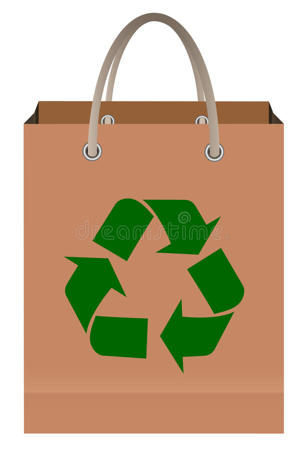Paper bag with recycle symbol. Isolated on white vector illustration