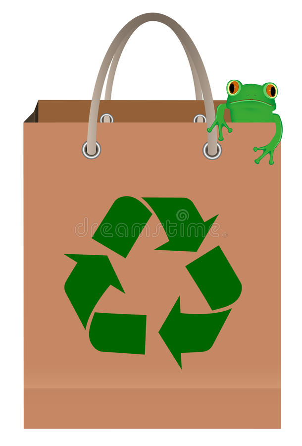 Paper bag with recycle symbol and frog. Green tree frog sitting on paper bag with recycle symbol royalty free illustration