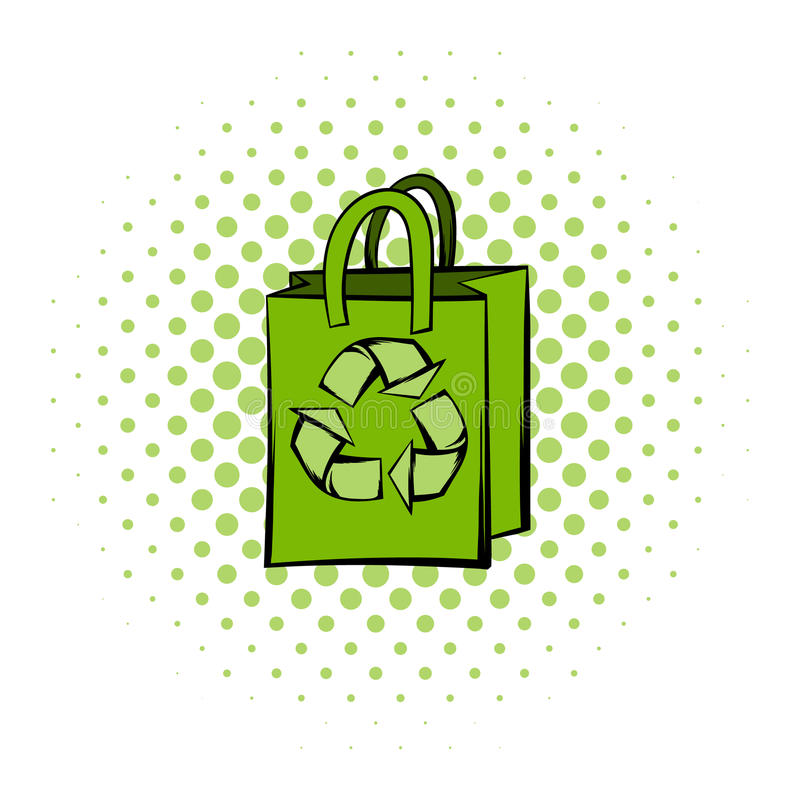Paper bag with recycle symbol. Green paper bag with recycle symbol. Comics icon on a white background royalty free illustration