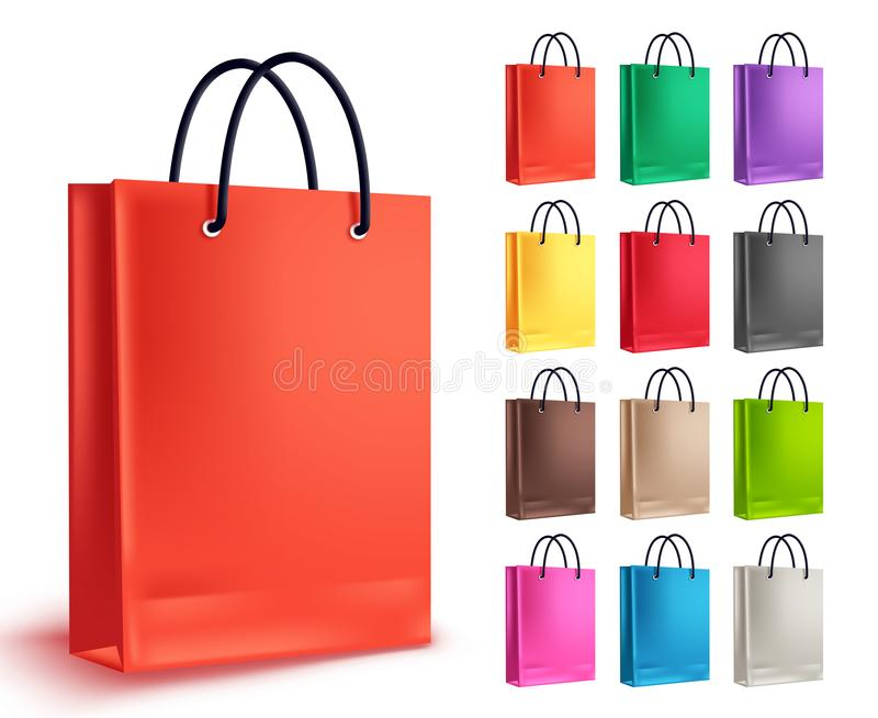 Paper bag for shopping vector set. Empty shopping bags collection in orange vector illustration