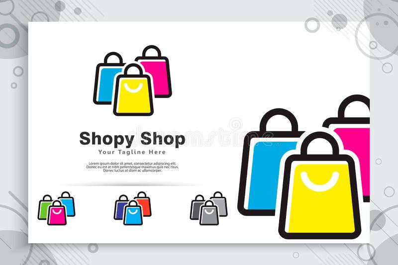 Paper bag vector logo with simple and minimalist concept designs as a symbol of online store can use for digital template in stock illustration