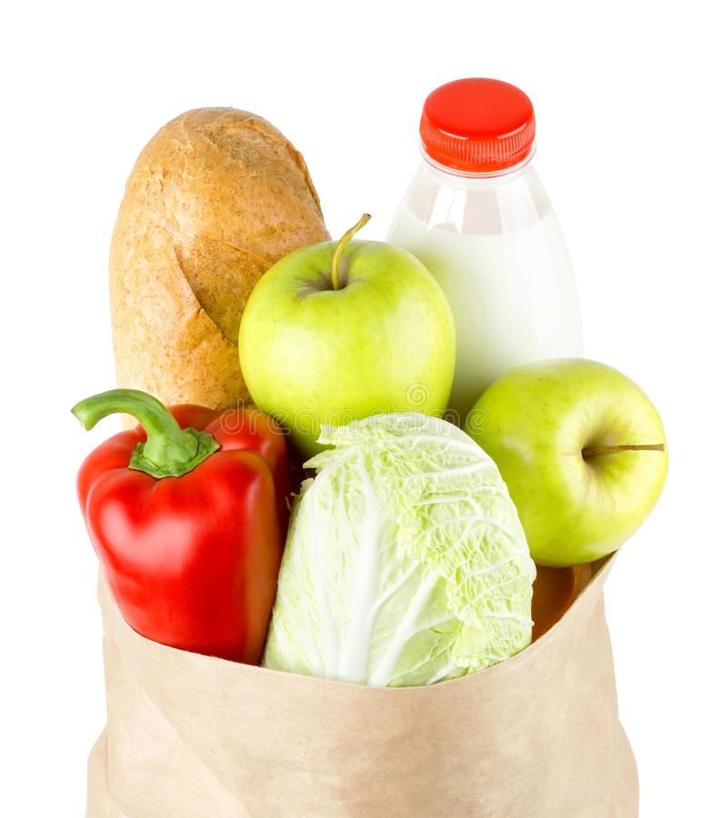 Paper bag with vegetables and food stock photography