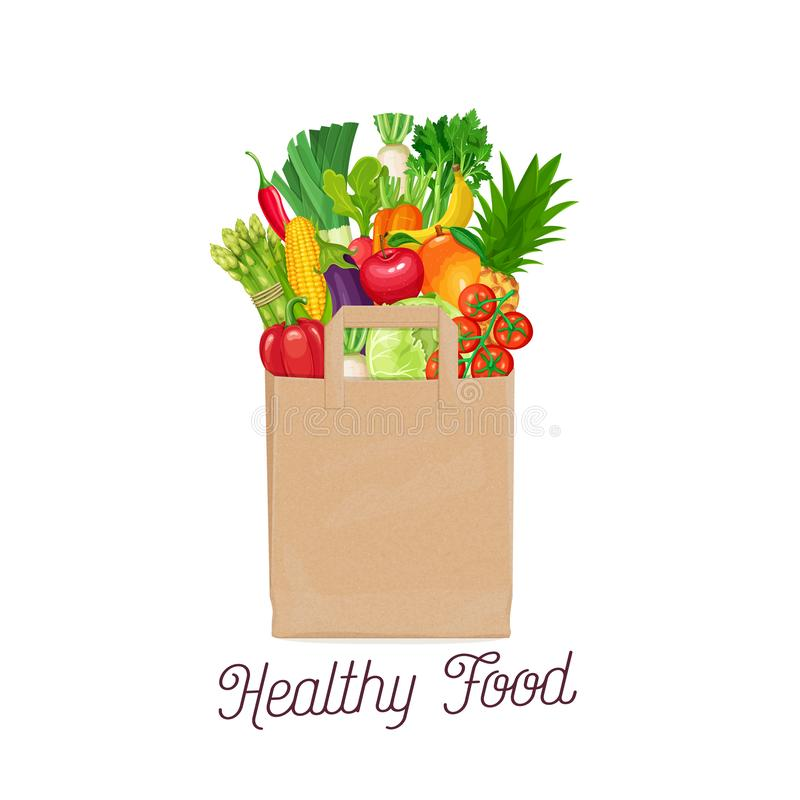 Paper bag of healthy food royalty free illustration