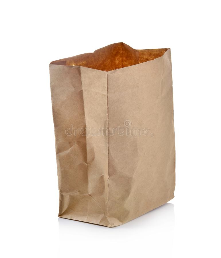 The paper bag on white background.  stock images