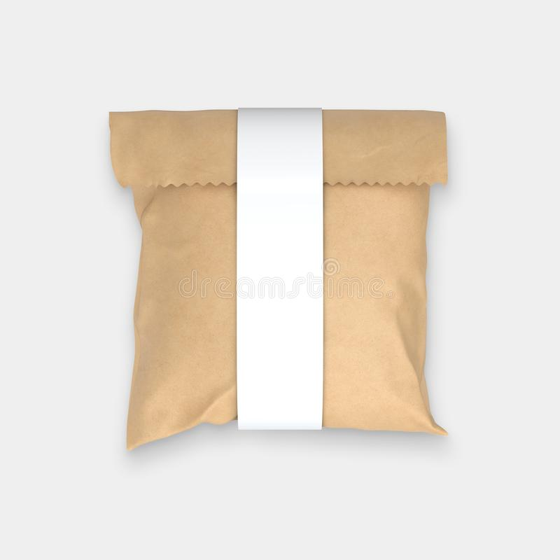 Paper bag on white background. Brown craft paper bag packaging on white background vector illustration