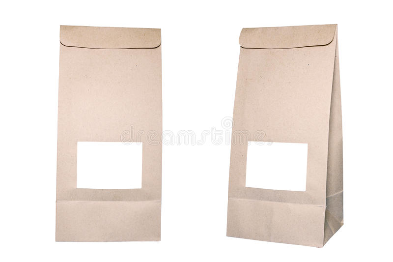 Paper bag on white with Clipping path stock photo