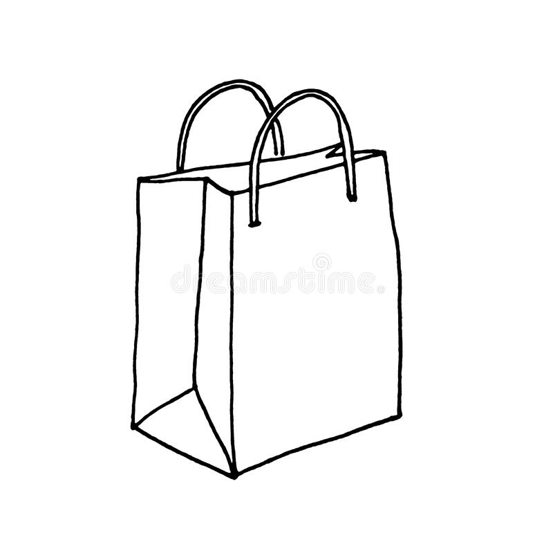 Free Paper Bag With Handles Isolated. Line Sketch. Black And White Hand Drawn Illustration On White Background. Package For Stock Images - 177958414