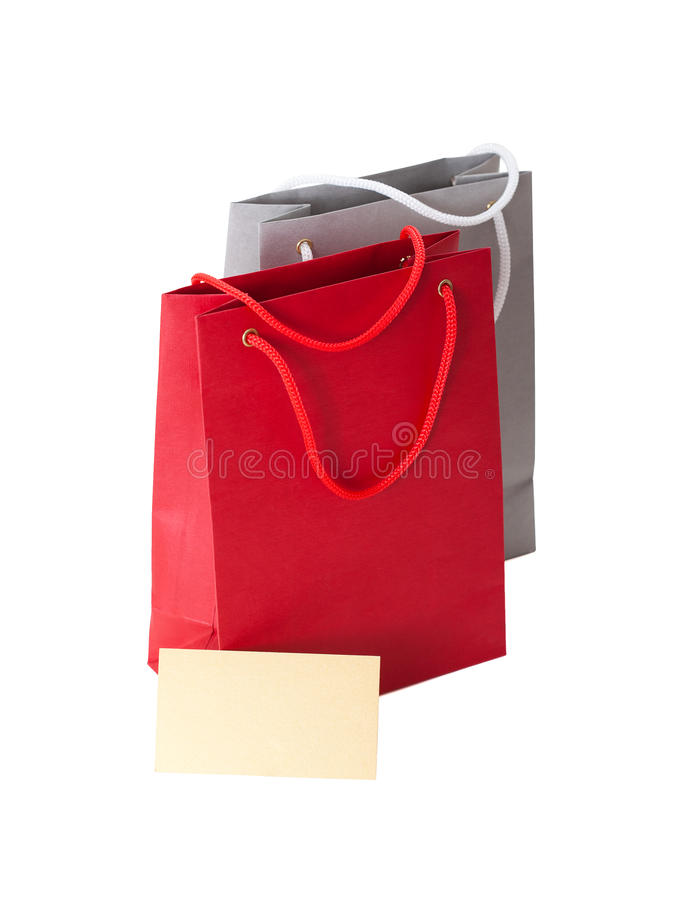 Paper bags with a business card stock photo