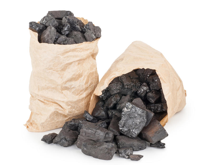 Paper bags with coal royalty free stock image