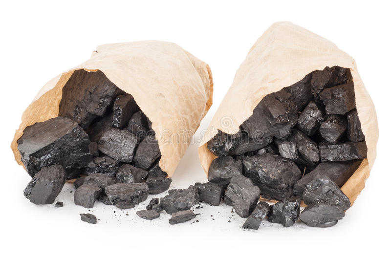 Paper bags with coal stock photos