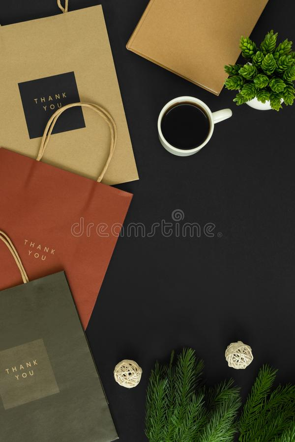 Paper bags with coffee royalty free stock photo