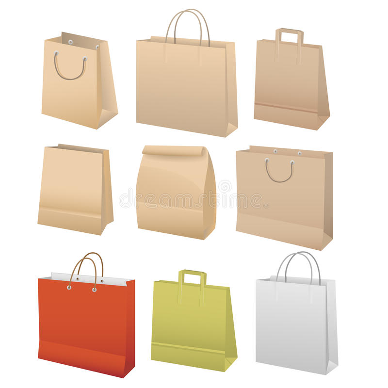 Download Paper bags set stock vector. Image of recycle, brown - 23074848