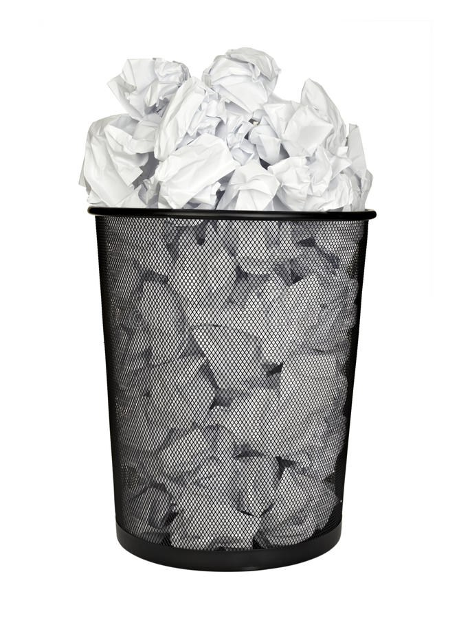 Paper ball waste paper bin office business. Close up of bin full of waste paper on white background with clipping path stock images