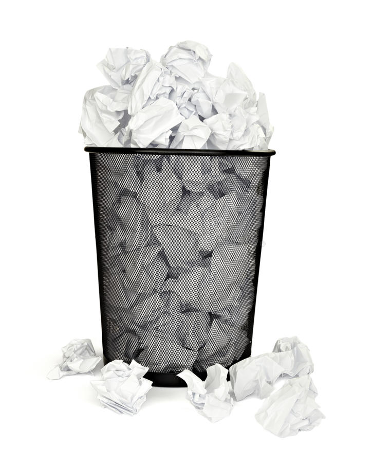 Paper ball waste paper bin office business. Close up of bin full of waste paper on white background with clipping path royalty free stock photo