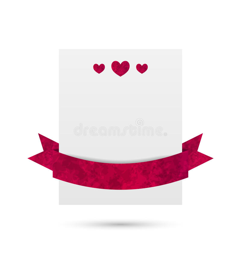 Paper banner with hearts and ribbon for Valentine Day, isolated vector illustration
