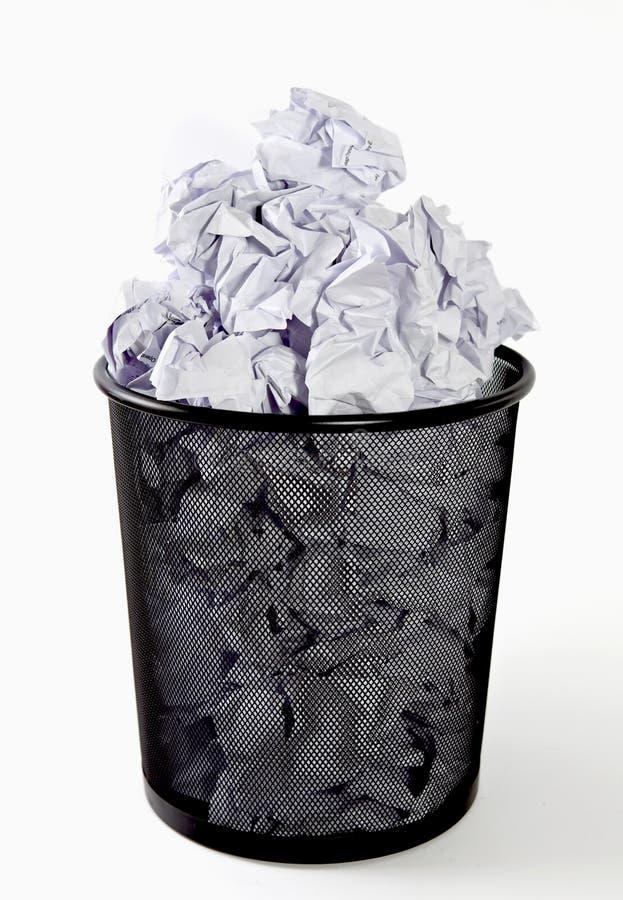 Paper bin. Full paper bin, trash, recycle bin, crumpled paper stock image