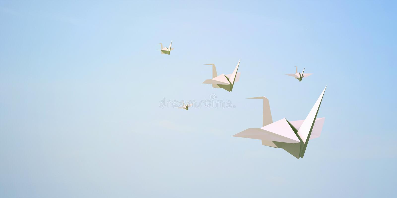 Paper bird flying on Sky Background. / Creative freedom and Concept Art royalty free stock photos