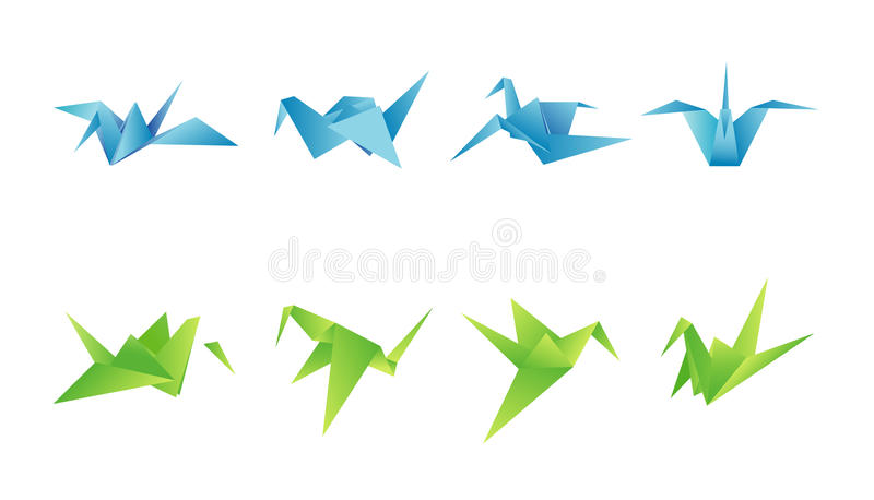 Paper birds in different angles