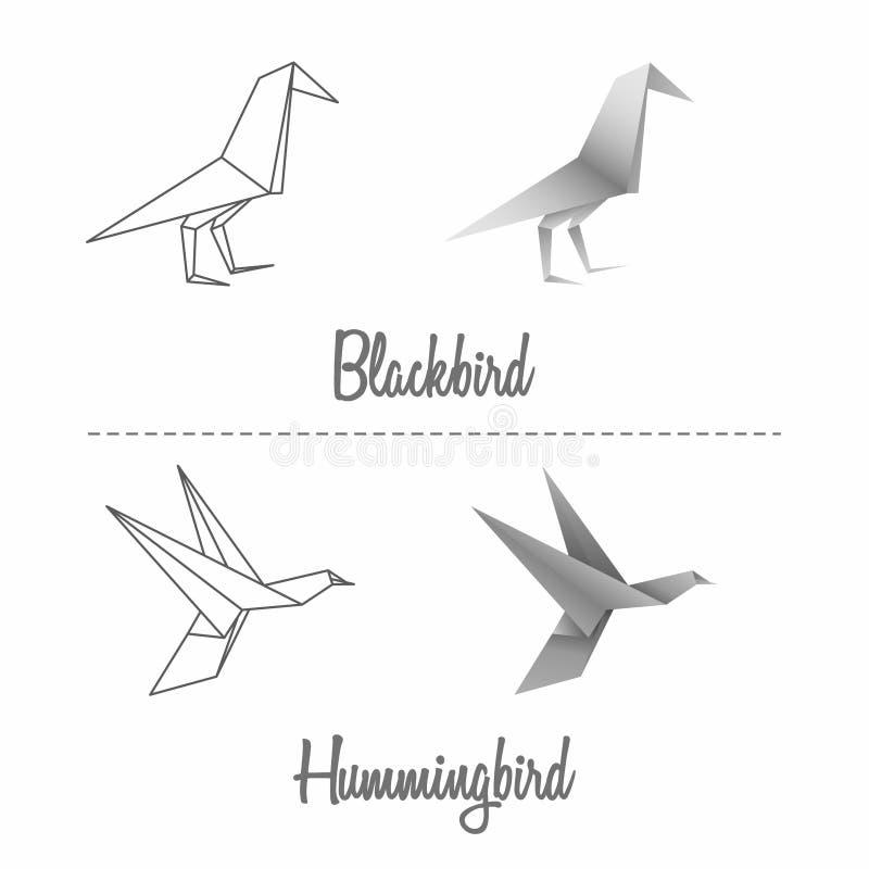 Paper blackbird and hummingbird set stock illustration