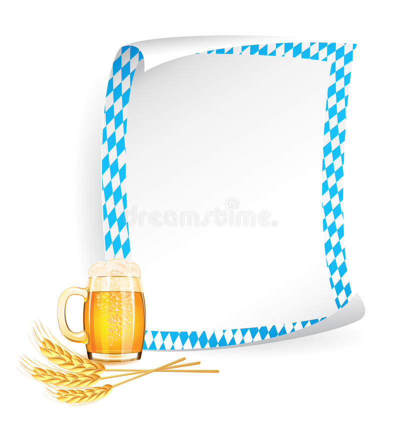 Paper board in bavarian colors. With beer mug and wheat ears stock illustration