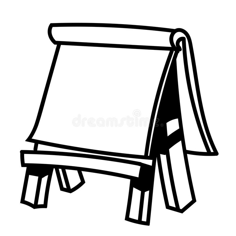 easel coloring page - paper board on wooden easel vector illustration stock
